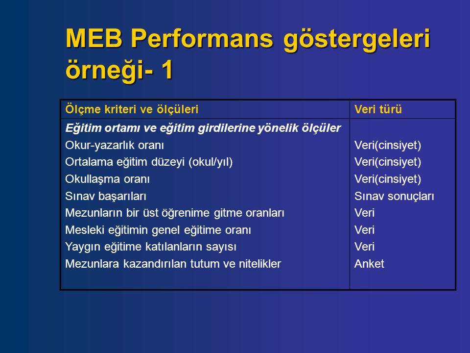 MEB Performans göstergeleri örneği- 1