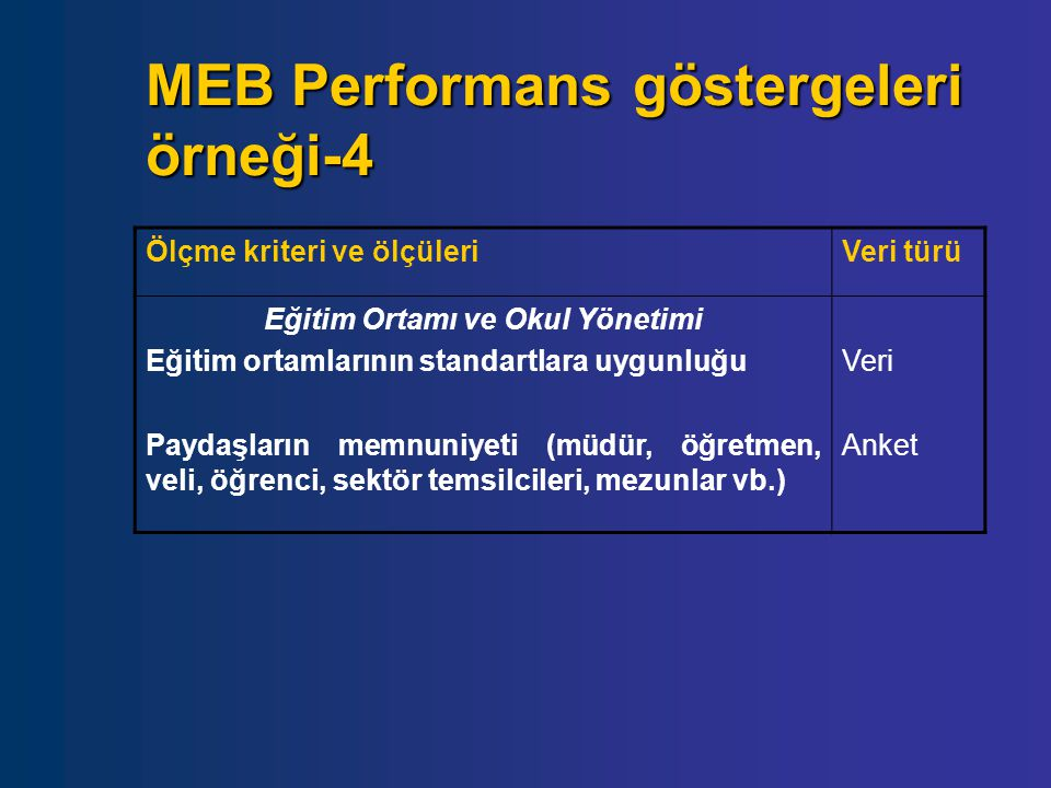 MEB Performans göstergeleri örneği-4