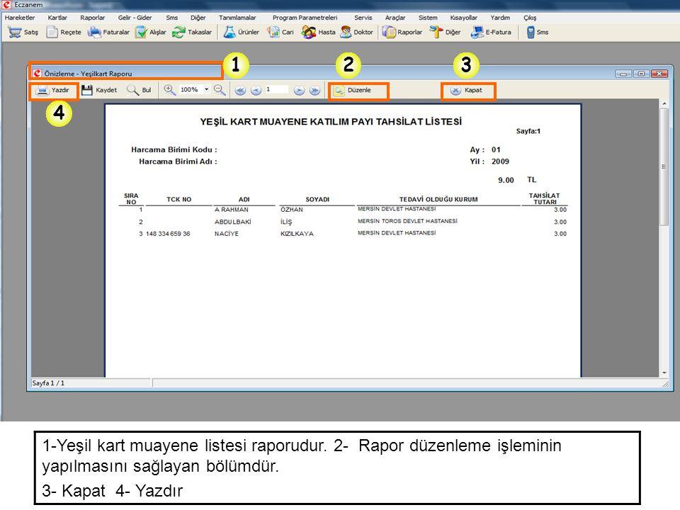 1 2. 3. 4. 1-Yeşil kart muayene listesi raporudur. 2- Rapor düzenleme işleminin yapılmasını sağlayan bölümdür.