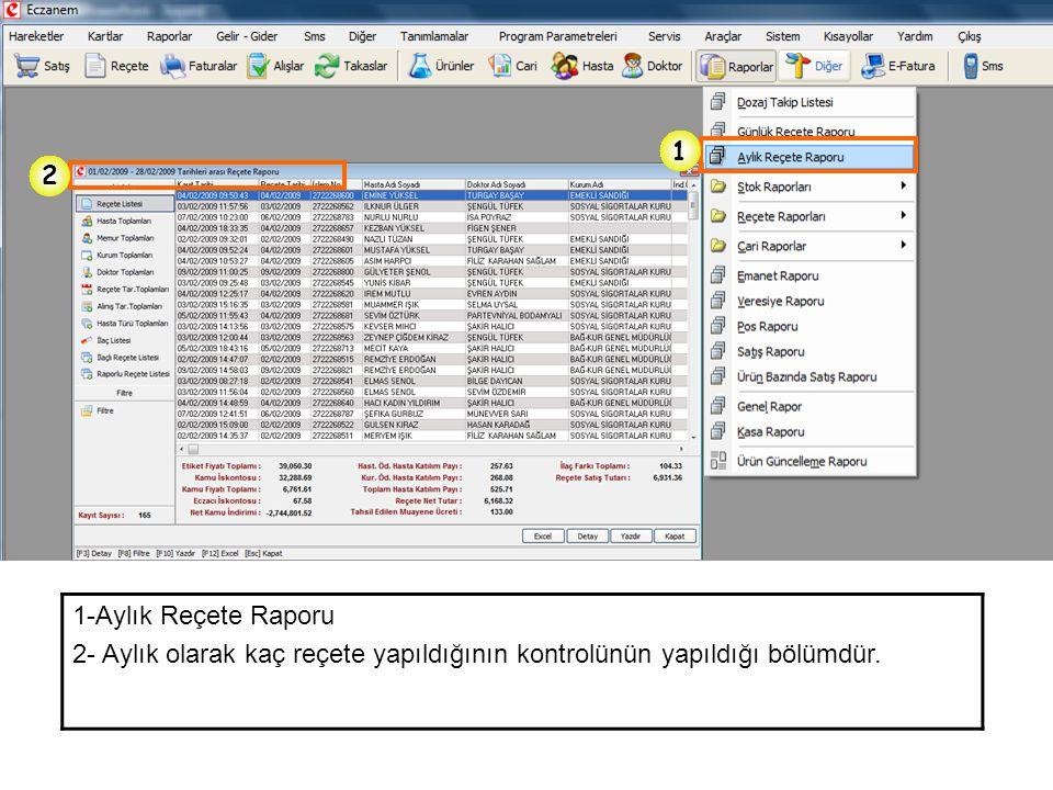 1 2 1-Aylık Reçete Raporu 2- Aylık olarak kaç reçete yapıldığının kontrolünün yapıldığı bölümdür.