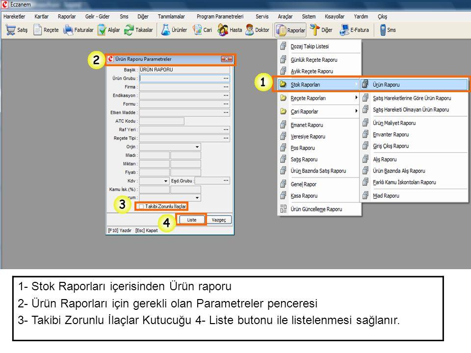 2 1. 3. 4. 1- Stok Raporları içerisinden Ürün raporu. 2- Ürün Raporları için gerekli olan Parametreler penceresi.
