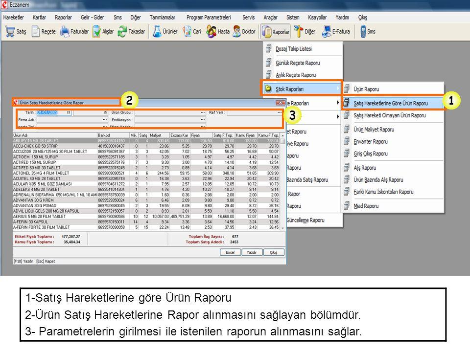 2 1. 3. 1-Satış Hareketlerine göre Ürün Raporu. 2-Ürün Satış Hareketlerine Rapor alınmasını sağlayan bölümdür.