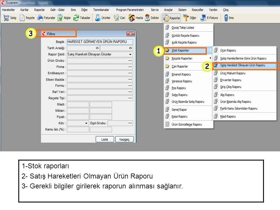 3 1. 2. 1-Stok raporları. 2- Satış Hareketleri Olmayan Ürün Raporu.