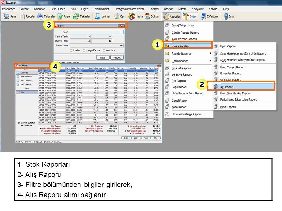 3 1. 4. 2. 1- Stok Raporları. 2- Alış Raporu.