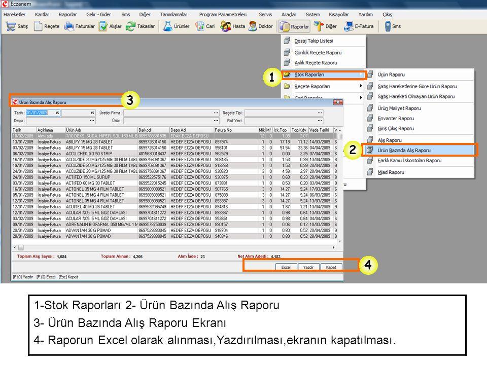 1 3. 2. 4. 1-Stok Raporları 2- Ürün Bazında Alış Raporu. 3- Ürün Bazında Alış Raporu Ekranı.