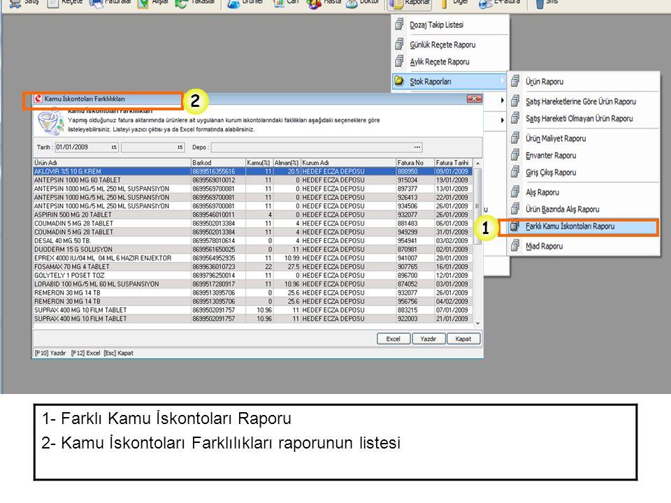 2 1 1- Farklı Kamu İskontoları Raporu 2- Kamu İskontoları Farklılıkları raporunun listesi
