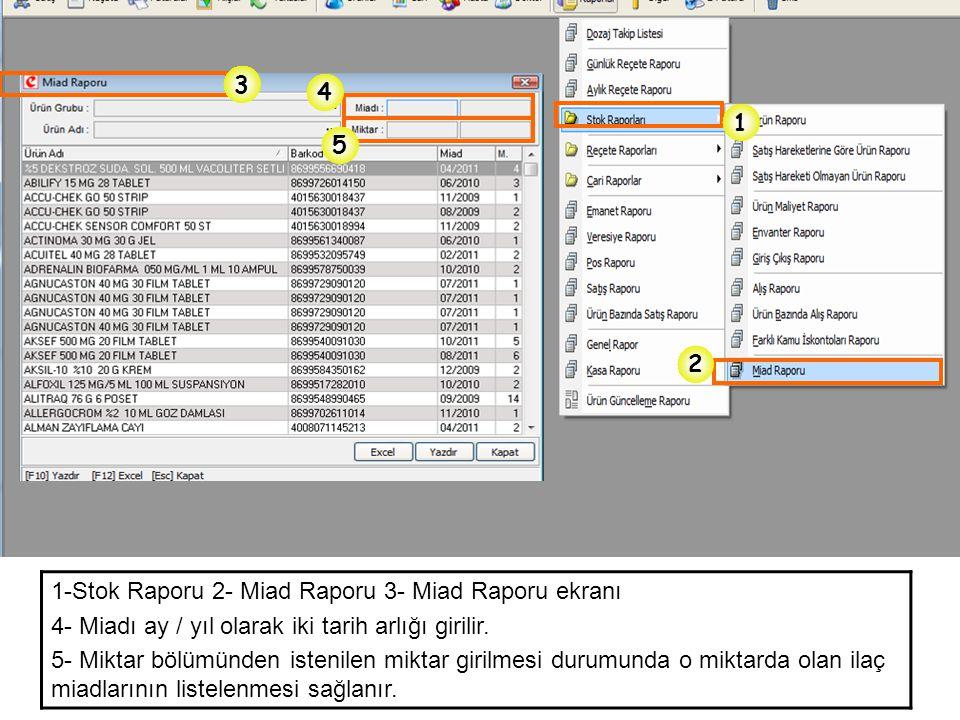 3 4. 1. 5. 2. 1-Stok Raporu 2- Miad Raporu 3- Miad Raporu ekranı. 4- Miadı ay / yıl olarak iki tarih arlığı girilir.