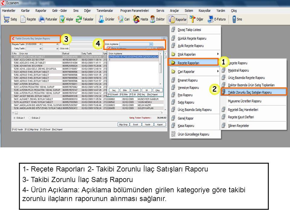 3 4. 1. 2. 1- Reçete Raporları 2- Takibi Zorunlu İlaç Satışları Raporu. 3- Takibi Zorunlu İlaç Satış Raporu.
