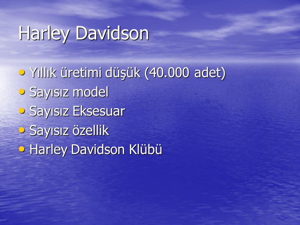 Harley Davidson Yıllık üretimi düşük (40.000 adet) Sayısız model