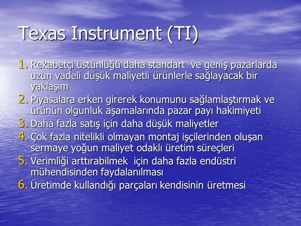Texas Instrument (TI) Rekabetçi üstünlüğü daha standart ve geniş pazarlarda uzun vadeli düşük maliyetli ürünlerle sağlayacak bir yaklaşım.