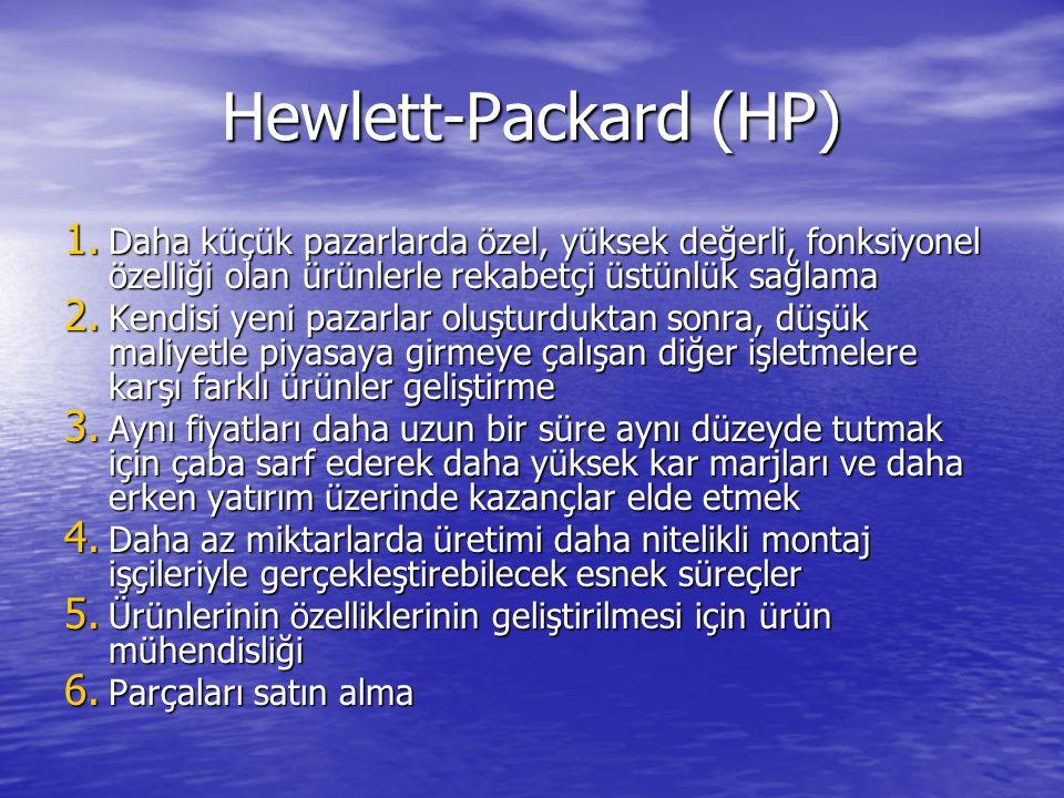 Hewlett-Packard (HP) Daha küçük pazarlarda özel, yüksek değerli, fonksiyonel özelliği olan ürünlerle rekabetçi üstünlük sağlama.