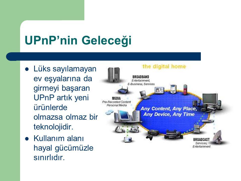 UPnP'nin Geleceği Lüks sayılamayan ev eşyalarına da girmeyi başaran UPnP artık yeni ürünlerde olmazsa olmaz bir teknolojidir.