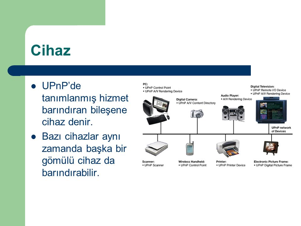 Cihaz UPnP'de tanımlanmış hizmet barındıran bileşene cihaz denir.