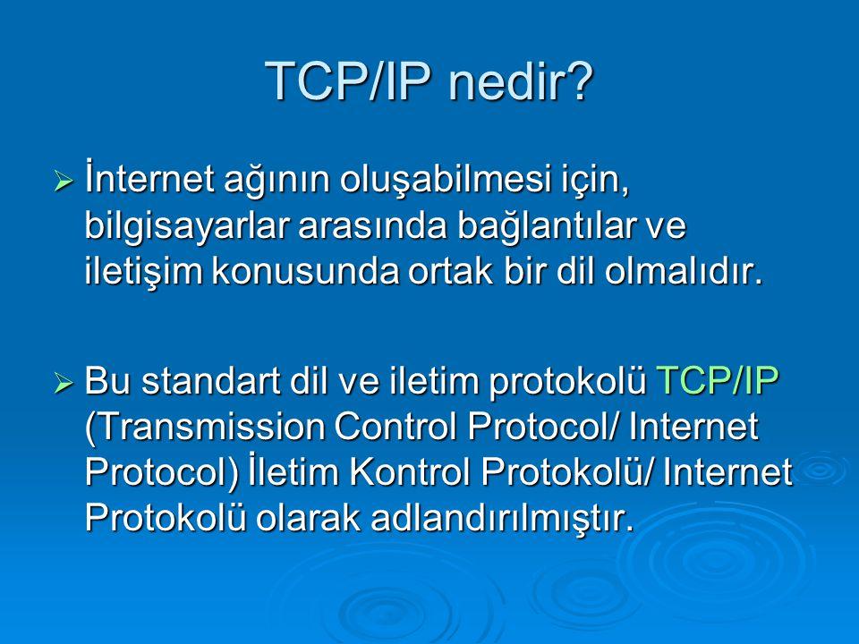 TCP/IP nedir İnternet ağının oluşabilmesi için, bilgisayarlar arasında bağlantılar ve iletişim konusunda ortak bir dil olmalıdır.