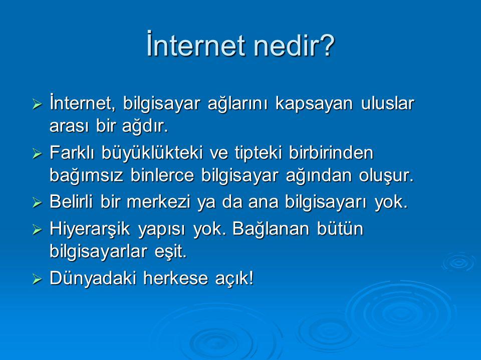 İnternet nedir İnternet, bilgisayar ağlarını kapsayan uluslar arası bir ağdır.