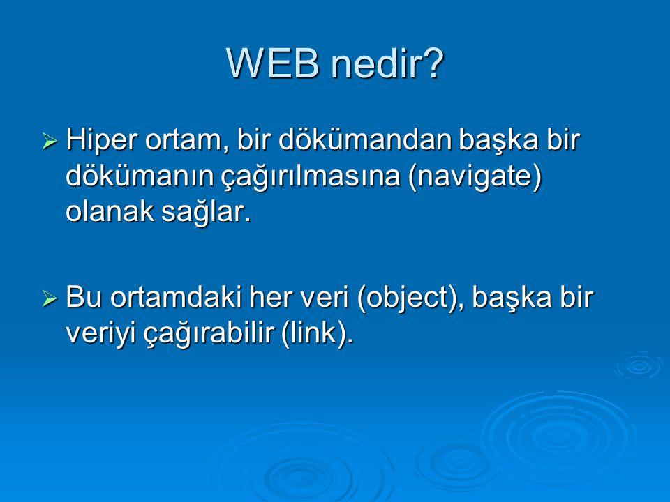 WEB nedir Hiper ortam, bir dökümandan başka bir dökümanın çağırılmasına (navigate) olanak sağlar.