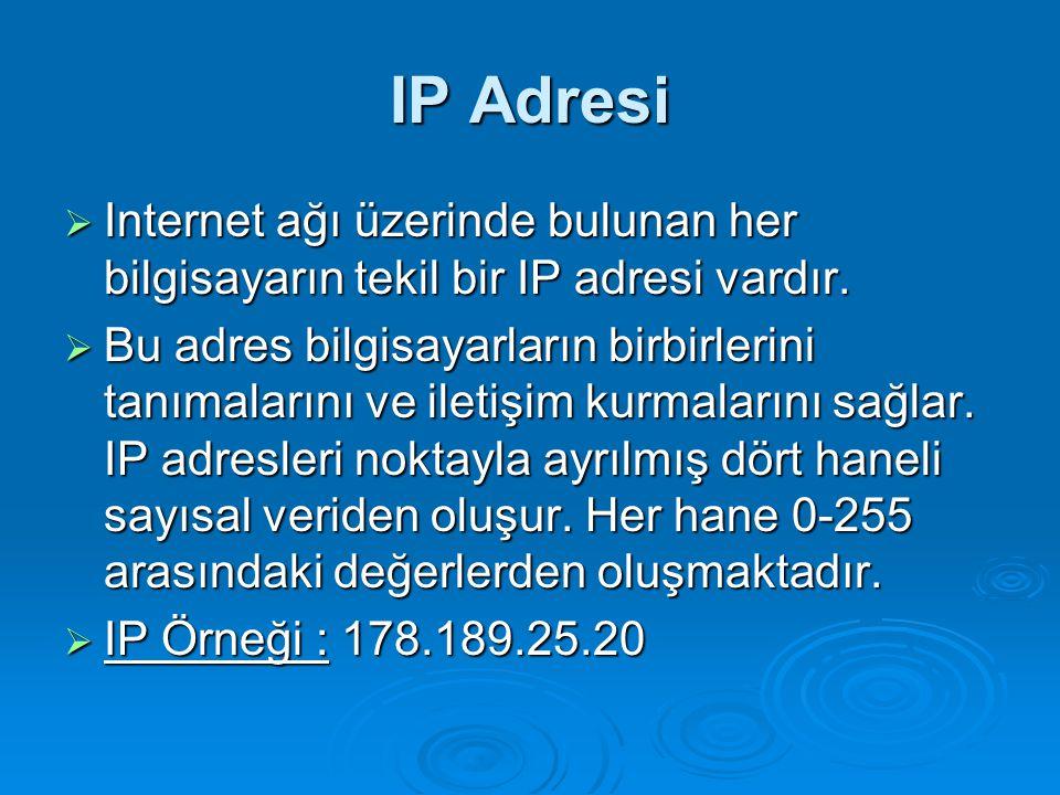 IP Adresi Internet ağı üzerinde bulunan her bilgisayarın tekil bir IP adresi vardır.