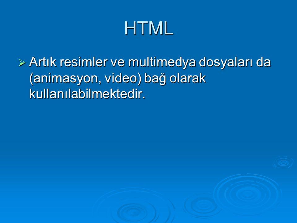 HTML Artık resimler ve multimedya dosyaları da (animasyon, video) bağ olarak kullanılabilmektedir.
