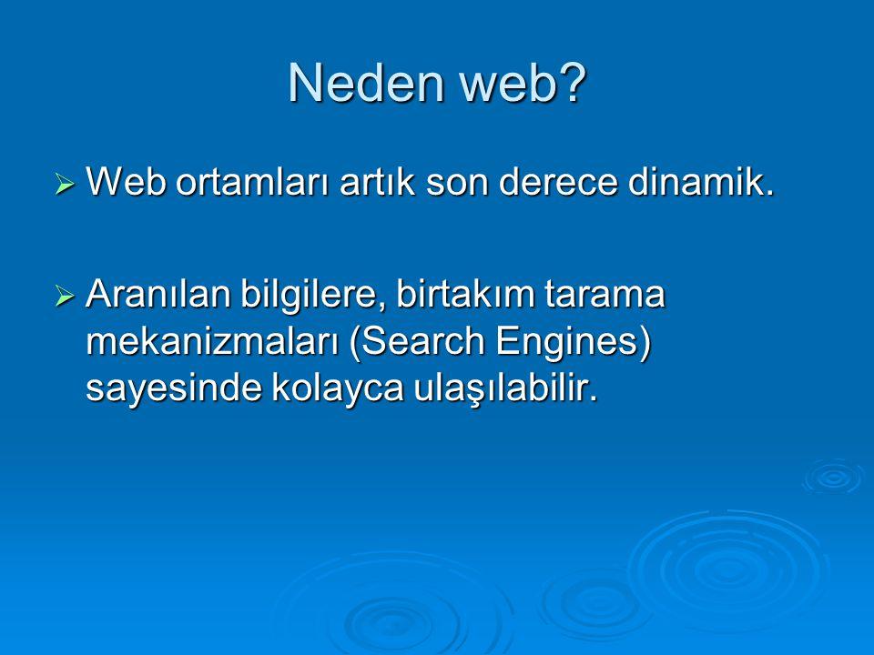 Neden web Web ortamları artık son derece dinamik.