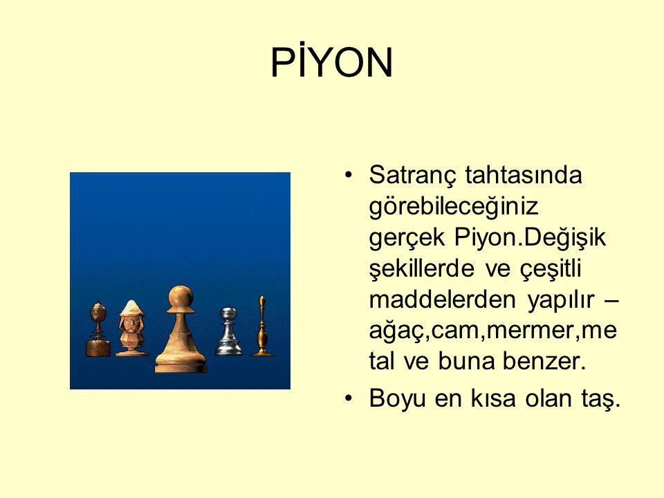 PİYON Satranç tahtasında görebileceğiniz gerçek Piyon.Değişik şekillerde ve çeşitli maddelerden yapılır – ağaç,cam,mermer,metal ve buna benzer.