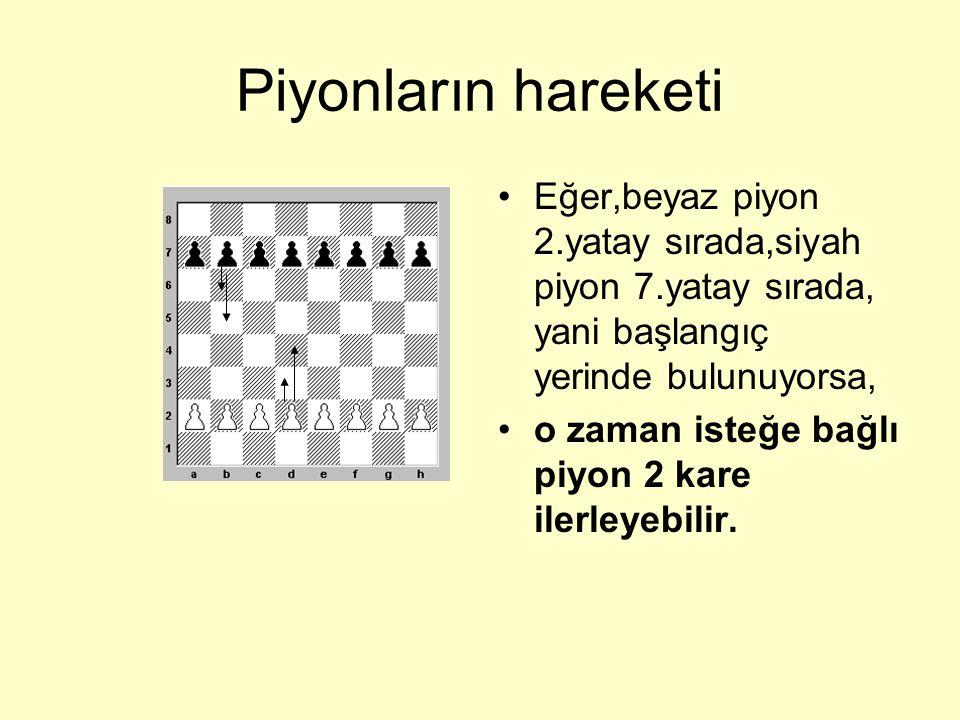 Piyonların hareketi Eğer,beyaz piyon 2.yatay sırada,siyah piyon 7.yatay sırada, yani başlangıç yerinde bulunuyorsa,