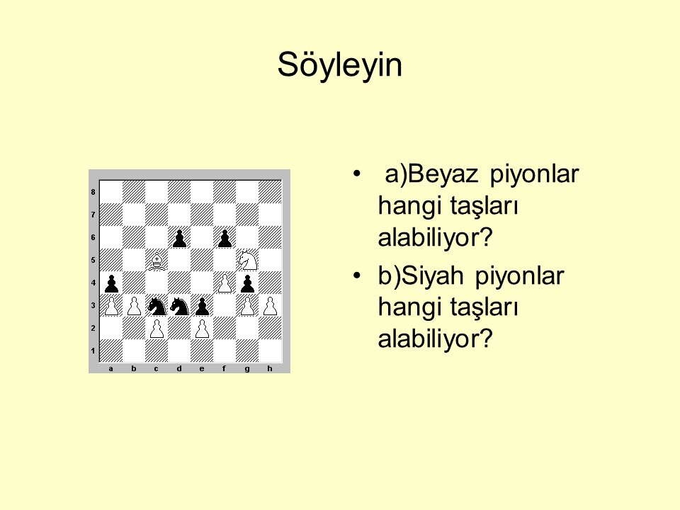 Söyleyin a)Beyaz piyonlar hangi taşları alabiliyor