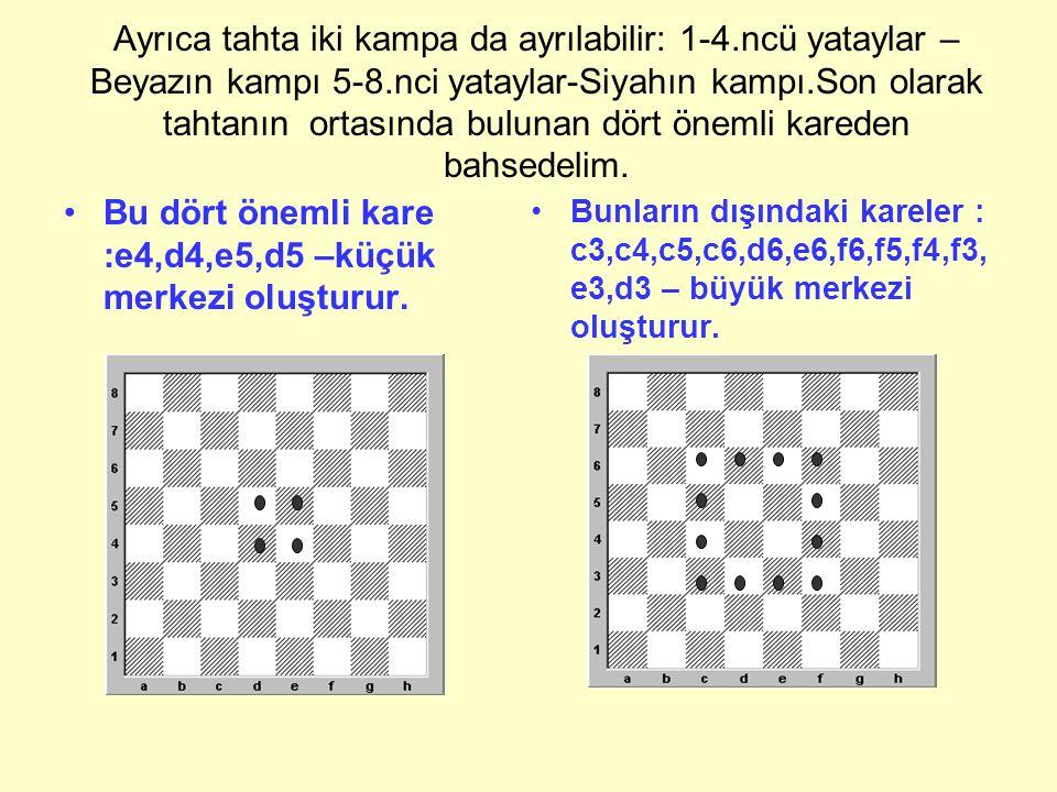 Bu dört önemli kare :e4,d4,e5,d5 –küçük merkezi oluşturur.