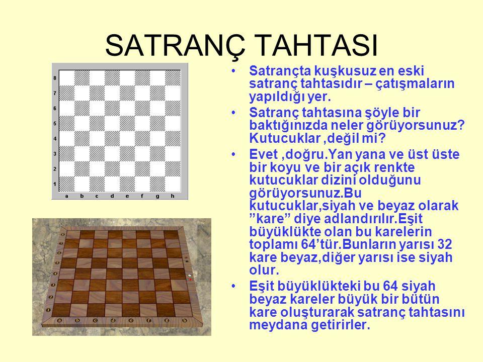 SATRANÇ TAHTASI Satrançta kuşkusuz en eski satranç tahtasıdır – çatışmaların yapıldığı yer.