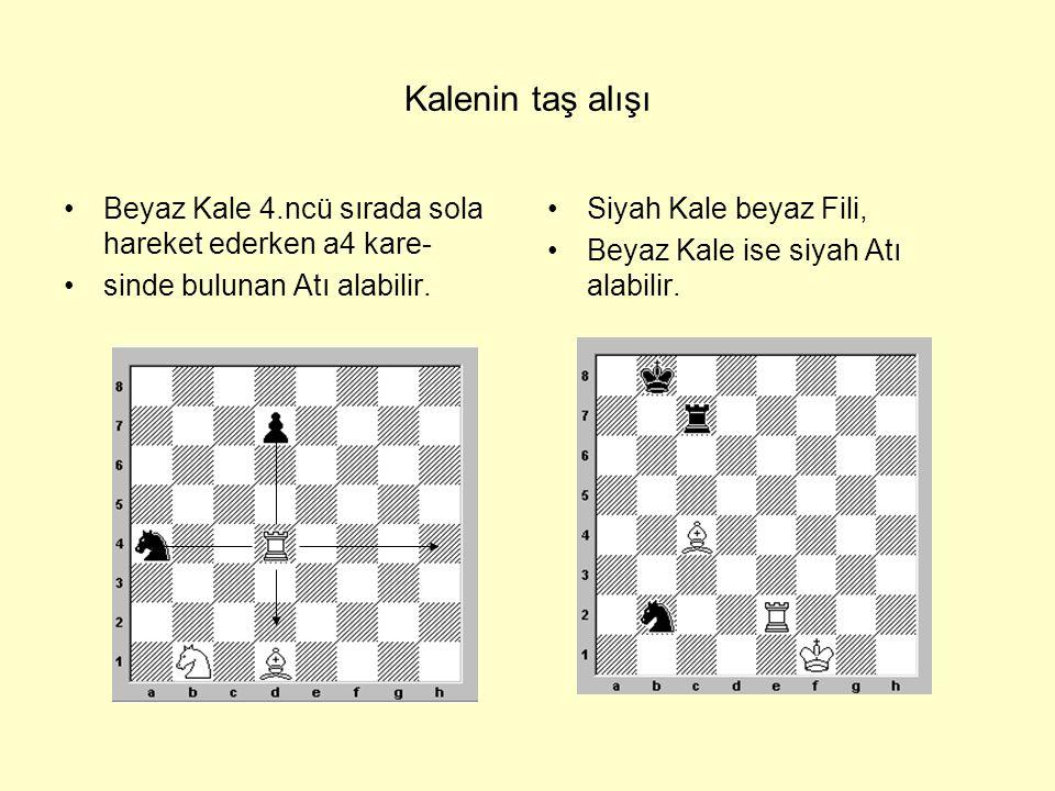 Kalenin taş alışı Beyaz Kale 4.ncü sırada sola hareket ederken a4 kare- sinde bulunan Atı alabilir.