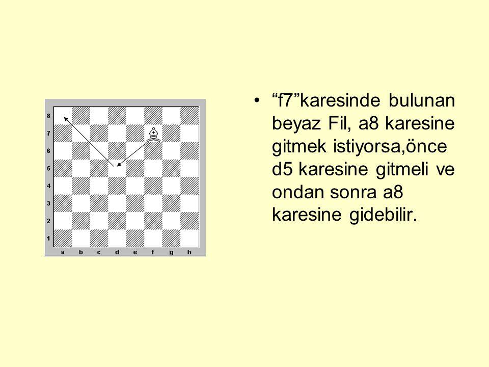 f7 karesinde bulunan beyaz Fil, a8 karesine gitmek istiyorsa,önce d5 karesine gitmeli ve ondan sonra a8 karesine gidebilir.