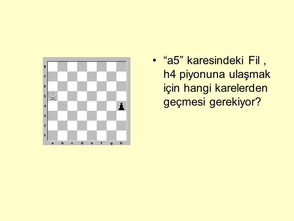 a5 karesindeki Fil , h4 piyonuna ulaşmak için hangi karelerden geçmesi gerekiyor