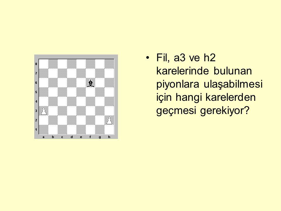 Fil, a3 ve h2 karelerinde bulunan piyonlara ulaşabilmesi için hangi karelerden geçmesi gerekiyor