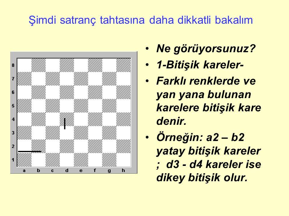 Şimdi satranç tahtasına daha dikkatli bakalım