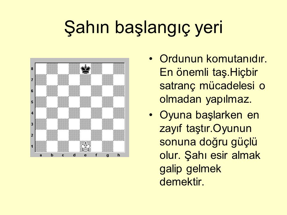 Şahın başlangıç yeri Ordunun komutanıdır. En önemli taş.Hiçbir satranç mücadelesi o olmadan yapılmaz.