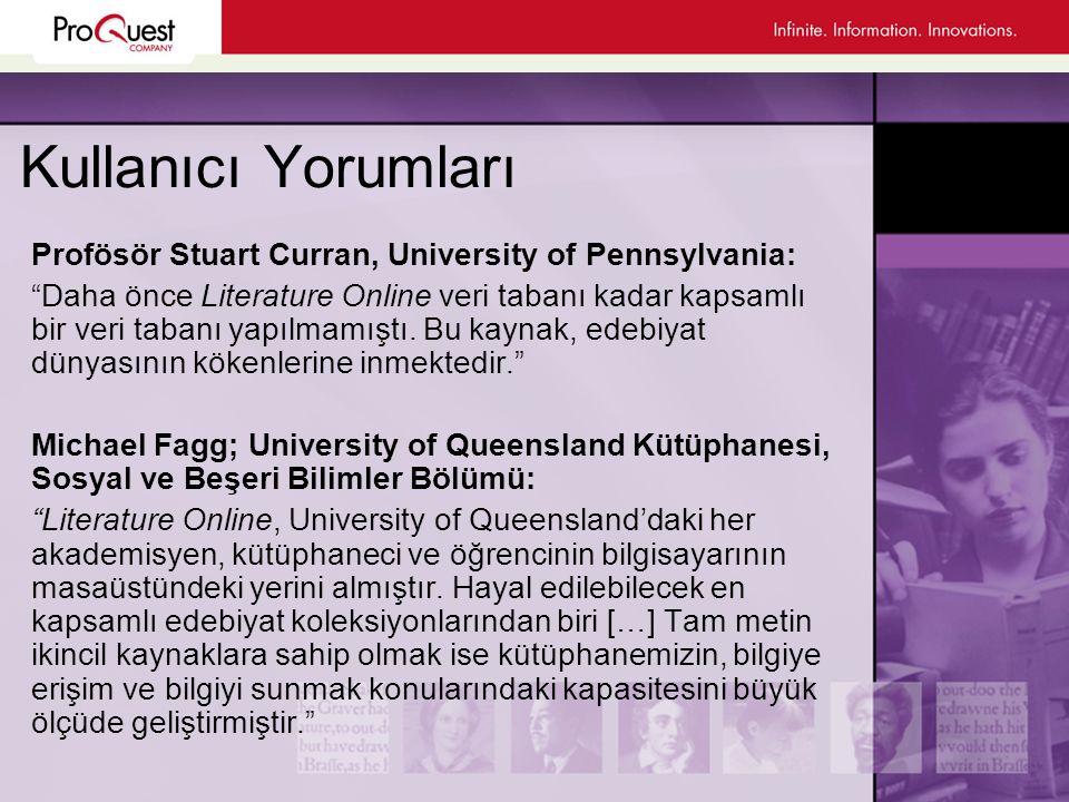 Kullanıcı Yorumları Profösör Stuart Curran, University of Pennsylvania: