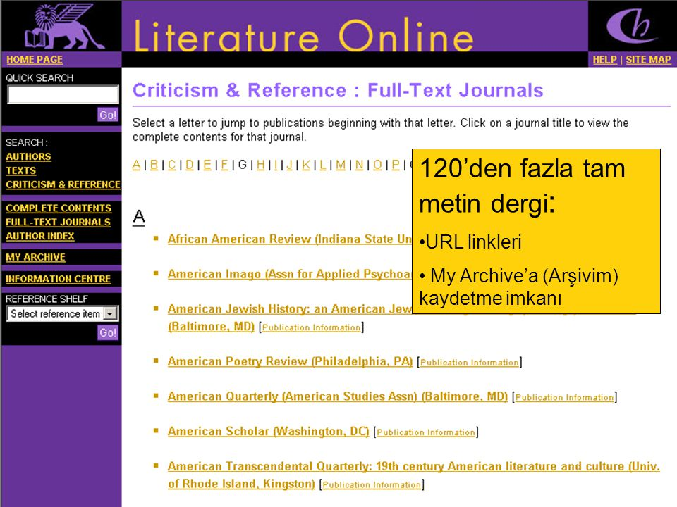 120'den fazla tam metin dergi: