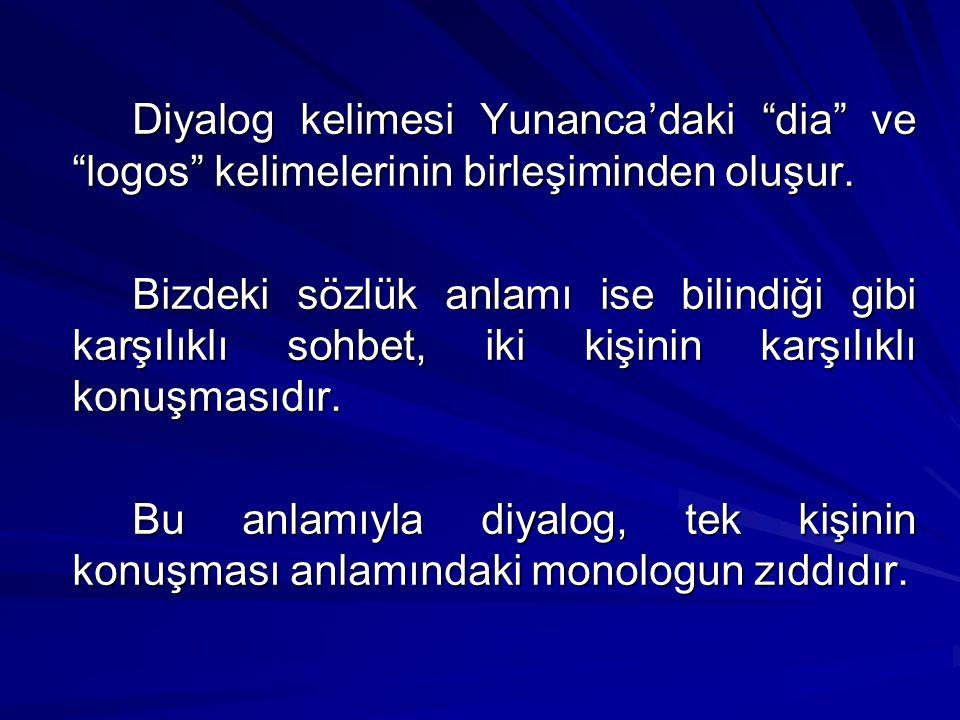Diyalog kelimesi Yunanca'daki dia ve logos kelimelerinin birleşiminden oluşur.