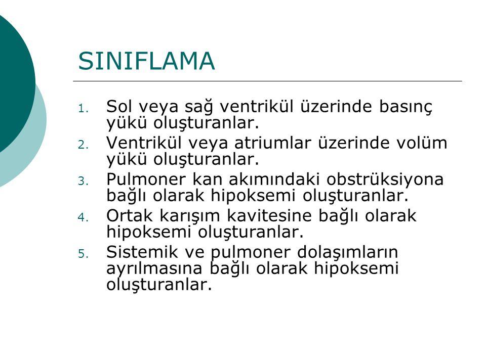 SINIFLAMA Sol veya sağ ventrikül üzerinde basınç yükü oluşturanlar.