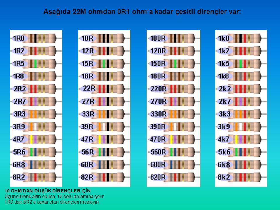 Aşağıda 22M ohmdan 0R1 ohm'a kadar çesitli dirençler var: