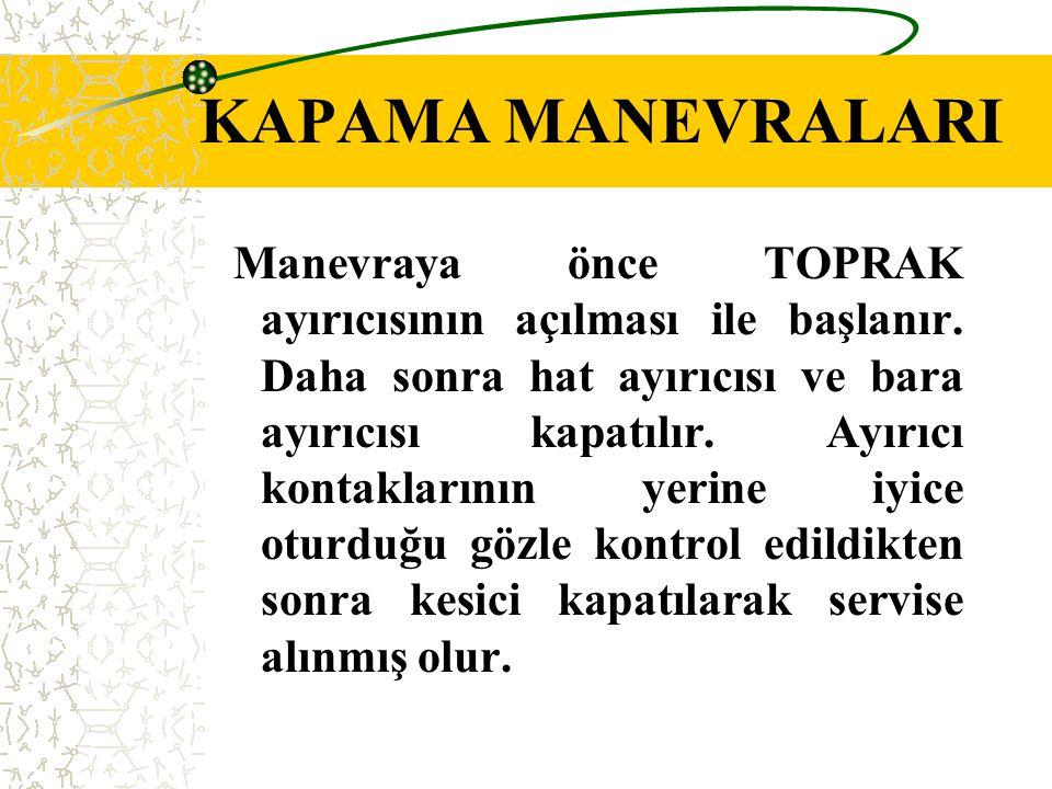 KAPAMA MANEVRALARI