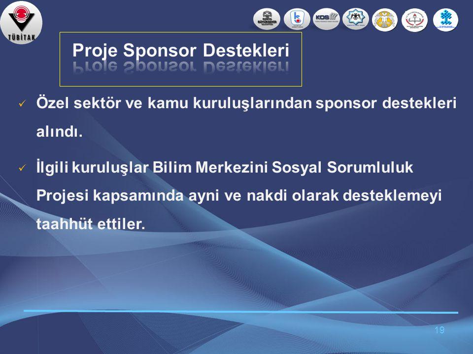 Özel sektör ve kamu kuruluşlarından sponsor destekleri alındı.