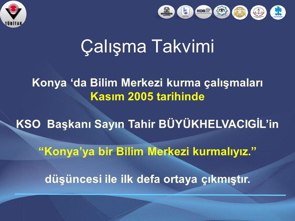Çalışma Takvimi Konya 'da Bilim Merkezi kurma çalışmaları
