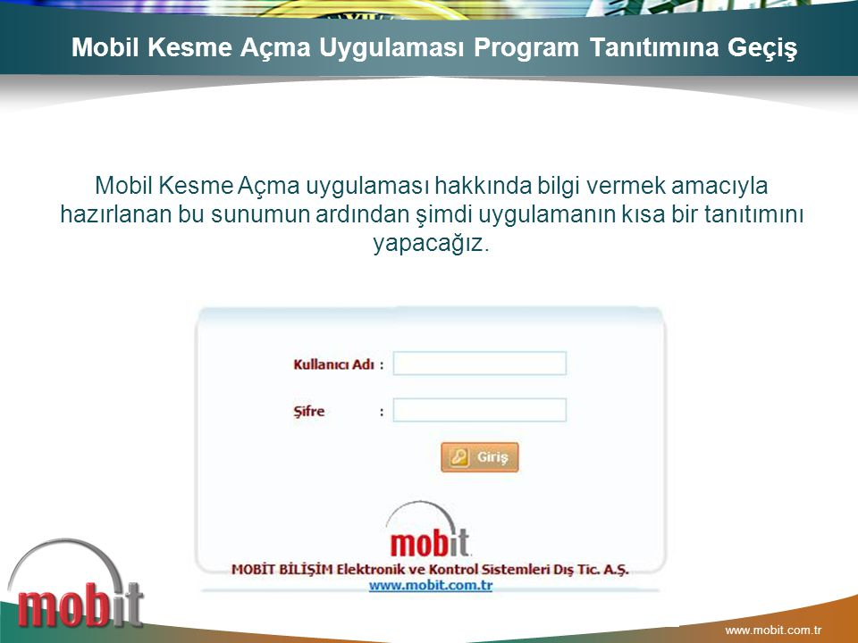 Mobil Kesme Açma Uygulaması Program Tanıtımına Geçiş