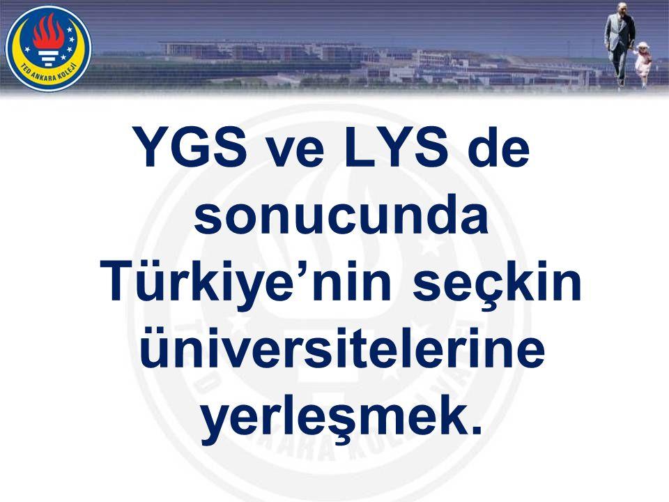 YGS ve LYS de sonucunda Türkiye'nin seçkin üniversitelerine yerleşmek.