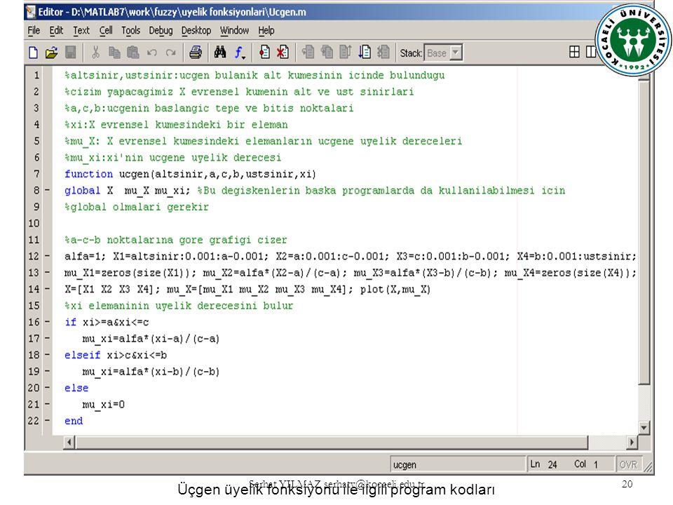 Üçgen üyelik fonksiyonu ile ilgili program kodları