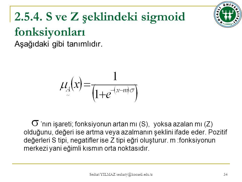 2.5.4. S ve Z şeklindeki sigmoid fonksiyonları