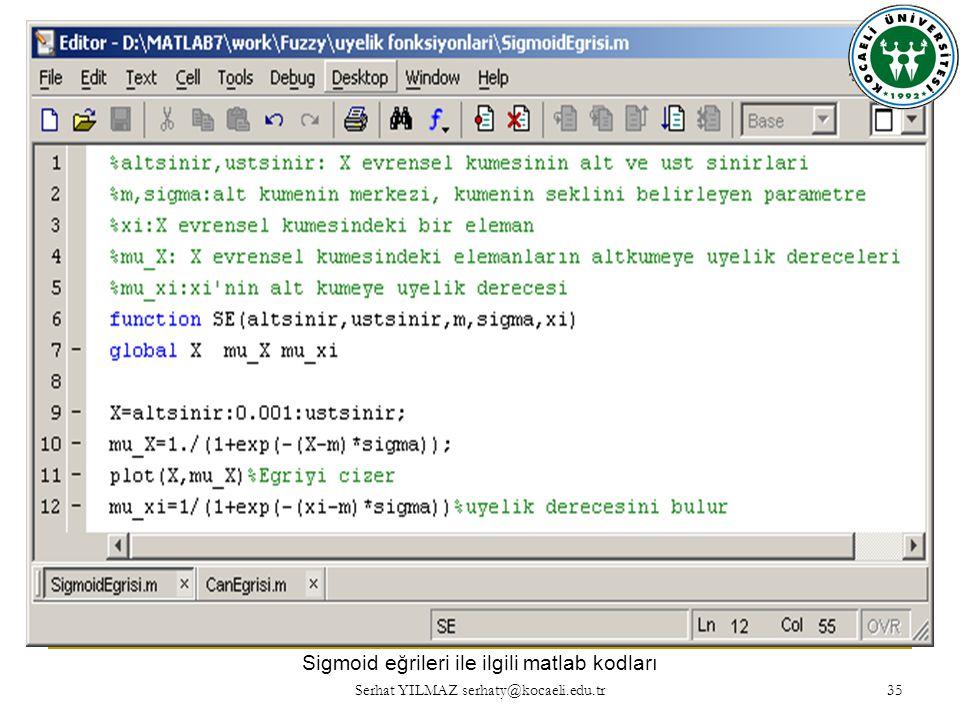 Sigmoid eğrileri ile ilgili matlab kodları