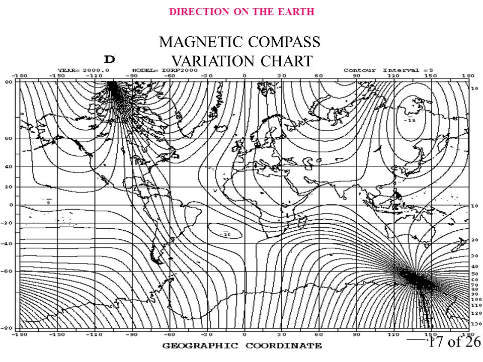 DIRECTION ON THE EARTH MAGNETIC COMPASS VARIATION CHART 17 of 26