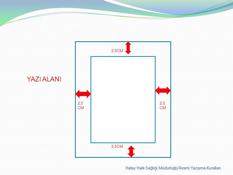 YAZI ALANI 2,5CM 2,5 CM 2,5CM 2,5CM Hatay Halk Sağlığı Müdürlüğü Resmi Yazışma Kuralları