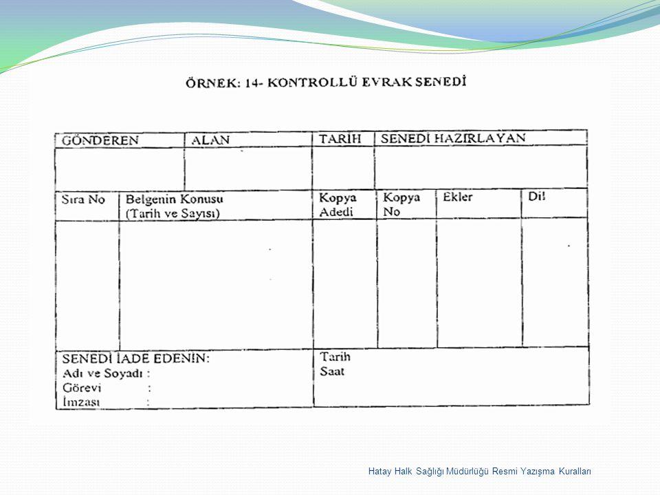 Hatay Halk Sağlığı Müdürlüğü Resmi Yazışma Kuralları